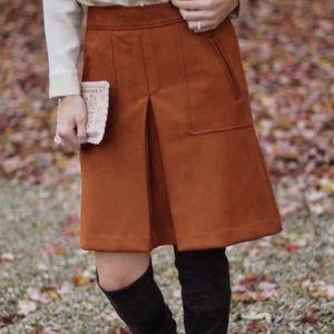 LOFT Skirt Suede High Waisted Pleated Pockets